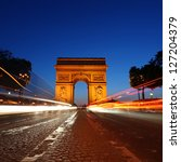 arc de triomphe and champs... | Shutterstock . vector #127204379