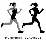 a female jogger in silhouette... | Shutterstock .eps vector #127205831