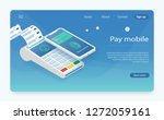 customer paying with nfc... | Shutterstock .eps vector #1272059161