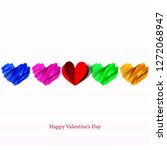 colorful hearts for valentine's ... | Shutterstock .eps vector #1272068947
