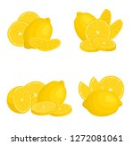 set of compositions with lemon. ... | Shutterstock .eps vector #1272081061