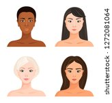 female faces of different races.... | Shutterstock .eps vector #1272081064