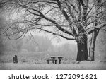 black and white photo of wooden ... | Shutterstock . vector #1272091621
