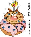 cute cat inside a strawberry... | Shutterstock .eps vector #1272154981