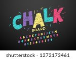 colorful hand drawn chalk font  ... | Shutterstock .eps vector #1272173461