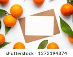 minimalistic card mockup with... | Shutterstock . vector #1272194374