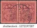 latvia circa 1927 a stamp... | Shutterstock . vector #1272197287
