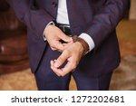 businessman wears stylish wrist ...