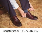 Businessman wearing brown stylish footwear. New leather shoes. Businessman dresses classic footwear