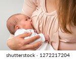 happy mother is breastfeeding... | Shutterstock . vector #1272217204