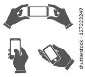 set of hands holding smart...   Shutterstock .eps vector #127223249