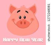 cute pig cartoon character face ... | Shutterstock .eps vector #1272268081