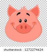 cute pig head cartoon character ... | Shutterstock . vector #1272274624