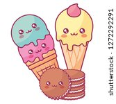 cute ice cream with cookies... | Shutterstock .eps vector #1272292291