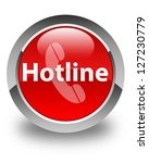hotline on glossy red round... | Shutterstock . vector #127230779