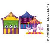 carnival kiosks with soccer... | Shutterstock .eps vector #1272313741