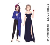 pair of girls in stylish... | Shutterstock .eps vector #1272348631