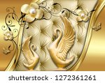 Stock photo  d wallpaper soft cushion background with swans flowers and butterflies 1272361261