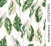 seamless foliage pattern with... | Shutterstock .eps vector #1272375901