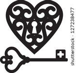 Lock Shaped Heart And Skeleton...