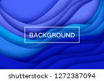 trendy blue paper cut wave... | Shutterstock .eps vector #1272387094