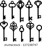 antique skeleton keys | Shutterstock .eps vector #127238747