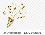 party popper isolated. golden... | Shutterstock .eps vector #1272393001