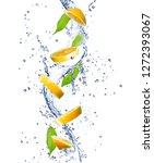 lemons in a splash of water.... | Shutterstock . vector #1272393067
