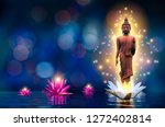 The Buddha Statue Stands On A...