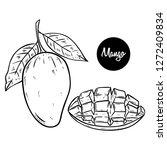 black and white fresh mango... | Shutterstock .eps vector #1272409834