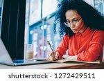 pensive african american... | Shutterstock . vector #1272429511