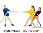 cheerful boy and two... | Shutterstock . vector #1272429934
