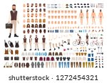 hipster guy construction set.... | Shutterstock .eps vector #1272454321