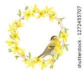 spring wreath with bird siskin  ...   Shutterstock .eps vector #1272455707