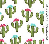 blooming cactus seamless...   Shutterstock .eps vector #1272467104