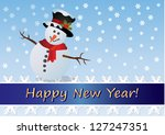 happy new year.snowman in top... | Shutterstock .eps vector #127247351