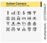 action camera icons set pixel...