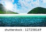 beautiful sunny tropical beach... | Shutterstock . vector #127258169