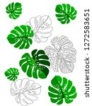 vector tropical pattern with... | Shutterstock .eps vector #1272583651