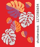 vector tropical pattern with... | Shutterstock .eps vector #1272583654