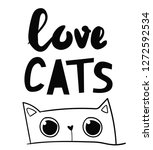 love cats.  isolated print with ... | Shutterstock .eps vector #1272592534