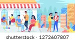 urban cafe filled with people... | Shutterstock .eps vector #1272607807