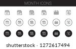 month icons set. collection of...