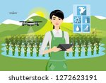 farmer and drone are watering... | Shutterstock .eps vector #1272623191