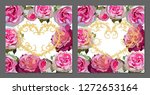 vector set of greeting cards... | Shutterstock .eps vector #1272653164