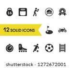 exercise icons set with hole ...