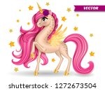 pony unicorn with flower  big... | Shutterstock .eps vector #1272673504