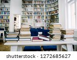 stack of books in the library... | Shutterstock . vector #1272685627