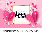 origami pink  white hearts.... | Shutterstock .eps vector #1272697834