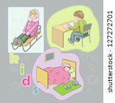 children on the sledge and in... | Shutterstock .eps vector #127272701